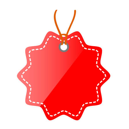 Red Shining Blank Star, Rounded corner Tag, isolated on white