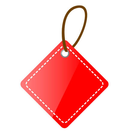 Red Shining Square Blank Tag with isolated on white