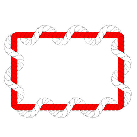 Vector, Rectangle Shape, from 2 Red and WhiteRope, for 17 August Event, Indonesia Independence Day Element Design  Stock Photo