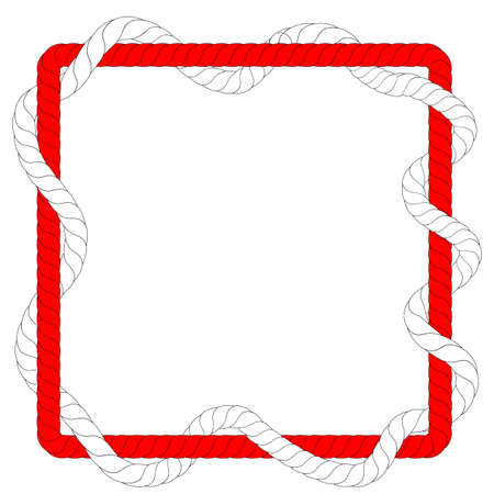 Vector, Square Shape, from 2 Red and WhiteRope, for 17 August Event, Indonesia Independence Day Element Design