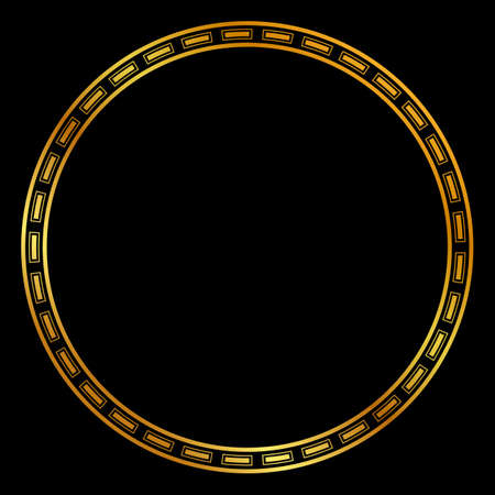 Vector Golden Circle Frame for Certificate, Placard or other Element Design Related, at Black