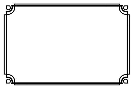Vector, Black Frame, Double outline, for Certificate, Placard or lunar element design, at white