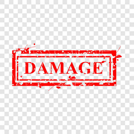 Grungy Vector Red Rubber Stamp, Damage at transparent effect background