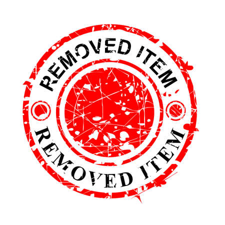 Vector, Circle Red Grunge Rubber Stamp, Removed Item, Isolated on white