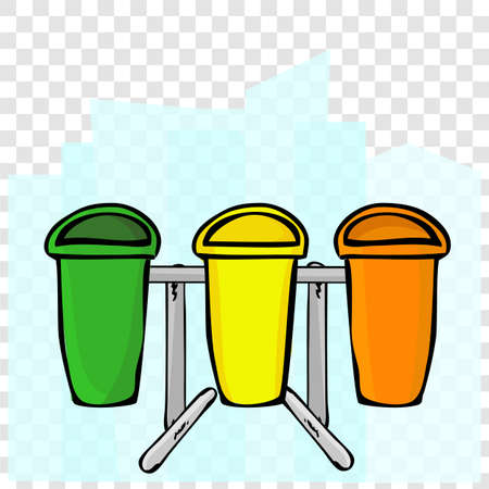 Vector Hand Draw Sketch of Green, Yellow and Orangy Empty Clean and tidy trash bin, for three category trash, at transparent effect background Stock Photo