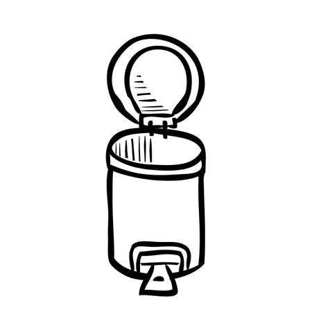 Vector Outline Hand Draw Sketch of Opened, Empty Clean and tidy trash bin, at White