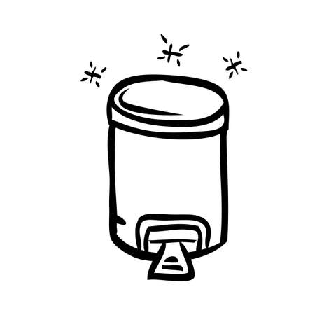 Vector Outline Hand Draw Sketch of Closed Clean and tidy trash bin, at White