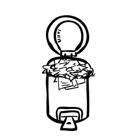 Vector Outline Hand Draw Sketch, Full crumpled Paper opened trash bin, at White b