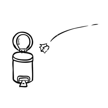 Vector Outline Hand Draw Sketch of crumpled Paper throwed into opened empty Clean and tidy trash bin, at White
