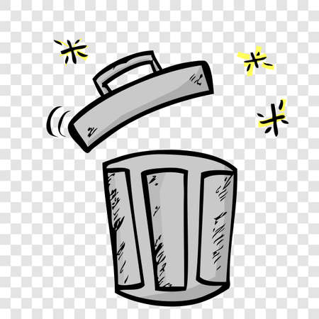 Gray Vector Hand Draw Sketch of Opened Empty Clean and tidy trash bin, at transparent effect background  Stok Fotoğraf