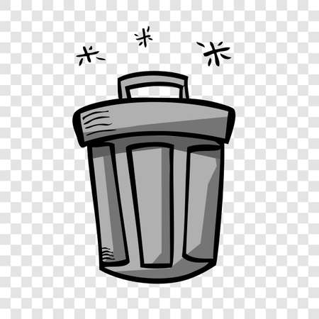 Vector Gray Hand Draw Sketch of Closed Empty Clean and tidy trash bin, at transparent effect background  Stok Fotoğraf