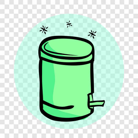 Vector Light Green Hand Draw Sketch of sparkling Closed Clean and tidy trash bin, with blue abstract wave at transparent effect background