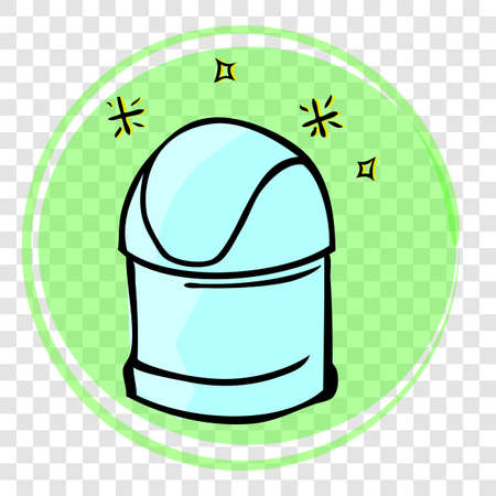 Vector Light Blue Hand Draw Sketch of sparkling Closed Clean and tidy trash bin, with green abstract wave at transparent effect background