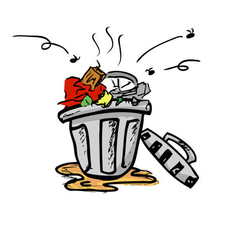Vector colorful Hand Draw Sketch of dirty stink and nasty trash bin with flies