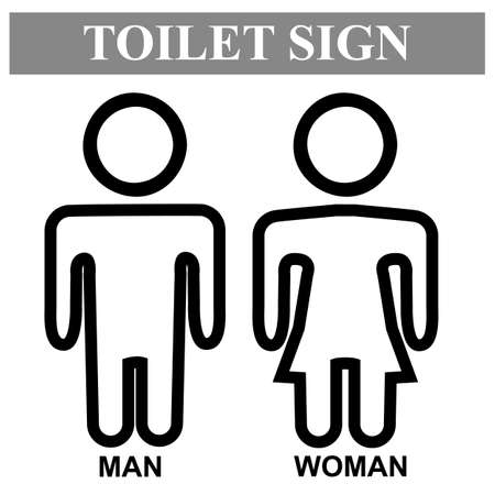Vector, Icon Style, Toilet Sign for Male and Female