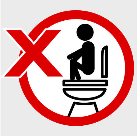 Vector, Icon Stye Prohibition Sign in toilet, wrong way while pooping at closet, public restroom, at gray background