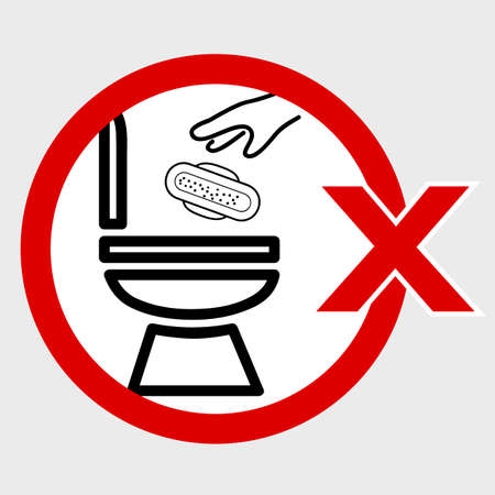 Vector, Icon Stye Prohibition Sign in toilet, do not Litter your sanitary napkin and other trash into closet, public restroom, at gray background