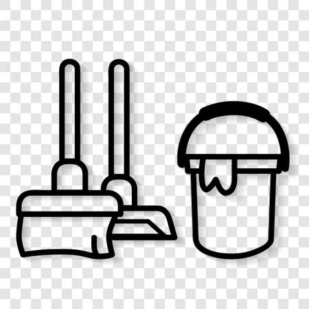 Vector, Icon Outline Stye, Janitor sign, Broom and Bucket at public restroom, at transparent effect background