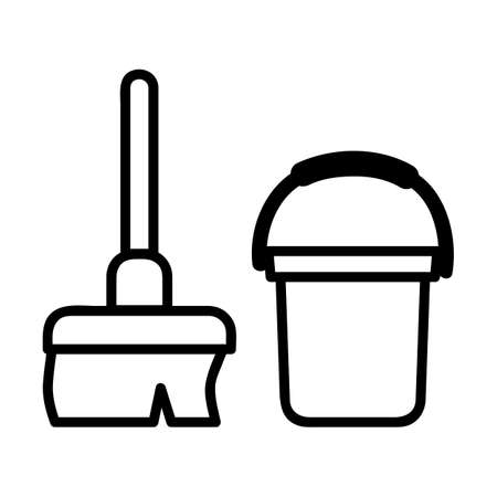 Vector, Icon Outline Stye, Janitor sign, Broom and Bucket at public restroom, at white background