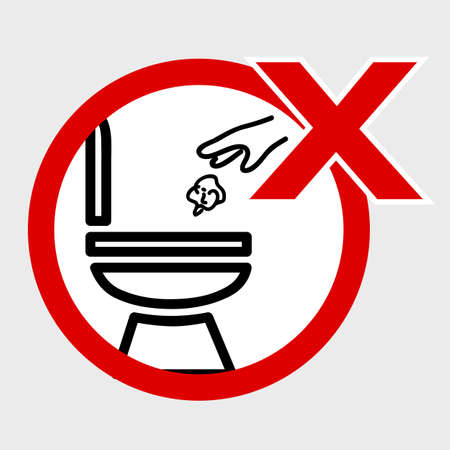 Vector, Icon Stye Prohibition Sign in toilet, do not Litter at closet, public restroom, at gray background  Stock Photo
