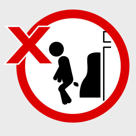 Vector, Icon Stye Prohibition Sign in toilet, do no pooping at urinoir, public restroom, at gray background