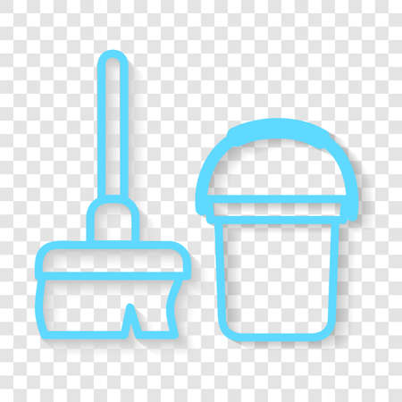 Vector, Blue Icon Outline Stye, Janitor sign, Broom and Bucket at public restroom, at transparent effect background