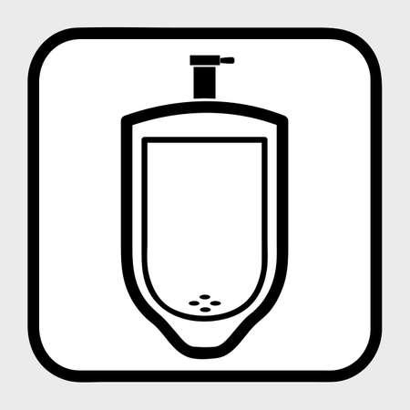 Vector, Outline Icon Stye of urinoir, public restroom, at gray background