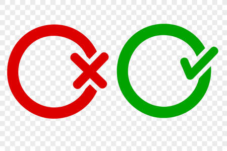 Vector Sign Icon Style Green Thick line true and Red false, at transparent effect background  Stockfoto