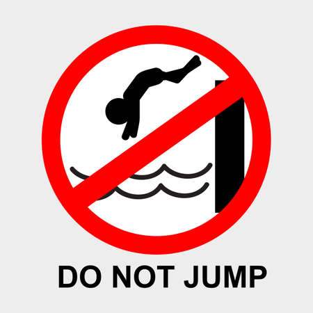 vector prohibition sign, do not jump into the pool or water at gray background
