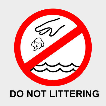 Vector, Icon Stye Prohibition Sign in toilet, do not Litter into pool or water, at gray background