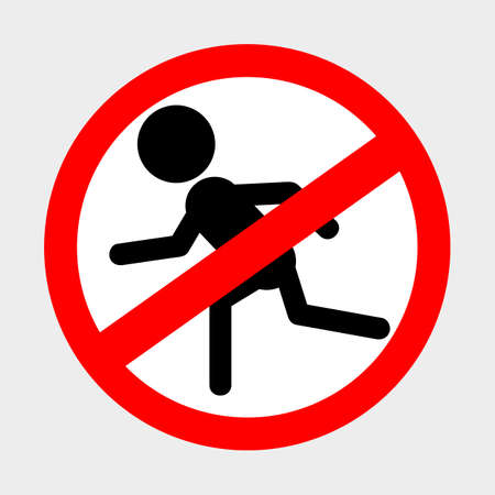 Vector Prohibition Sign, Do Not Running at gray background  Stock Photo