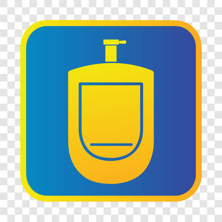 Vector, Silhouette Icon Stye of urinoir, public restroom, inside of gradient blue and yellow square border at transparent effect background