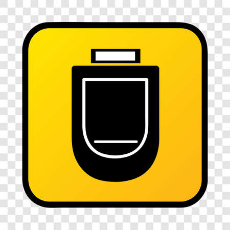 Vector, Silhouette Icon Stye of urinoir, public restroom, inside of gradient yellow square border at transparent effect background