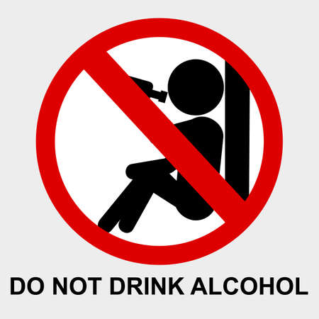 vector prohibition sign, Do Not Drink Alcohol at gray background  Stock Photo