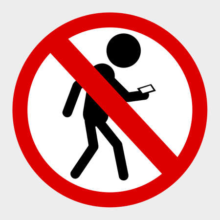 vector prohibition sign, No Mobile Phone While Walking, at gray background