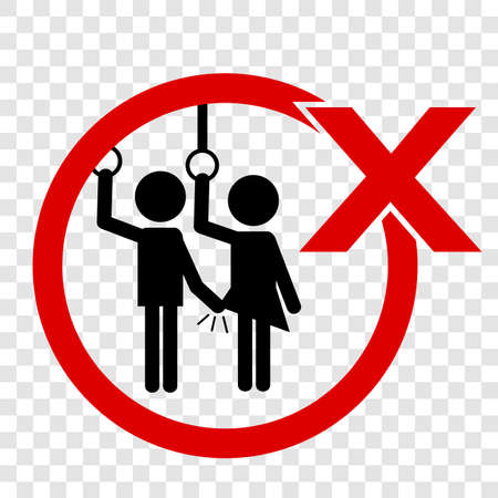 Vector, Icon Stye Prohibition Sign public transportation, No Sexual Abuse or Harrashment at gray background