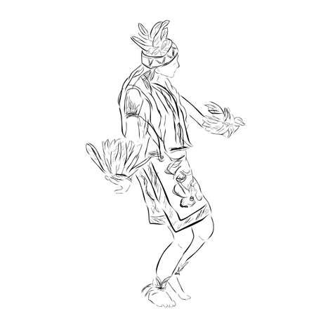 Black Vector Outline Sketch, Dayak Traditional Dancer, East or West Kalimantan Indonesia