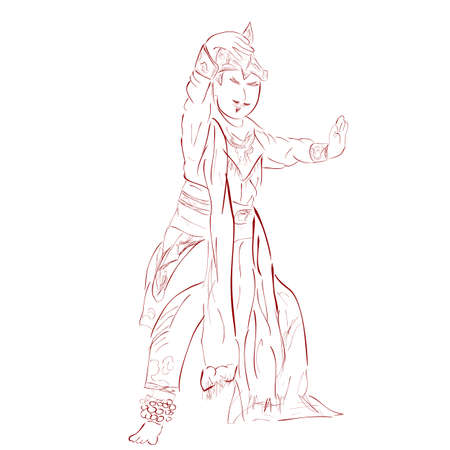 vector outline sketch, Remo Traditional Dancer, from East Java Indonesia  Stock fotó