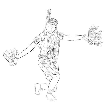 Black Vector Outline Sketch, Dayak Traditional Enggang Bird Dancer, East or West Kalimantan Indonesia  Stock fotó