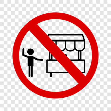 Vector sign, Do Not Selling with Cart at this area, at transparent background