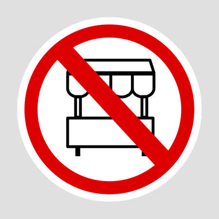 Vector sign, Do Not Selling with Cart at this area, at gray background
