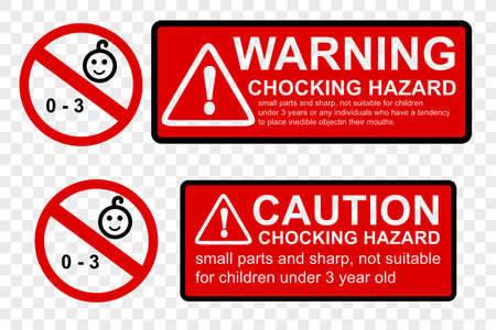 Vector Red Black, Caution Sign, Warning or Caution Hazard not suitable for children under 0 - 3 year old, contain small and sharp parts, at transparent effect background