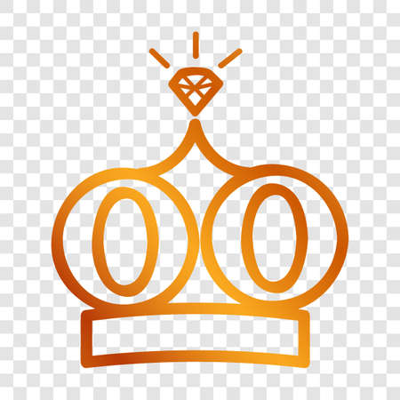 Golden Vector Icon Outline Style, Crown for part Of logo or other related