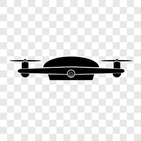 Simple Vector Silhouette of Drone, at transparent effect background