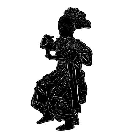 Vector Hand Draw Sketch and Black Silhouette Kembang Tarub Traditional Betawi Old Jakarta Indonesia Traditional Dancer, isolated on white