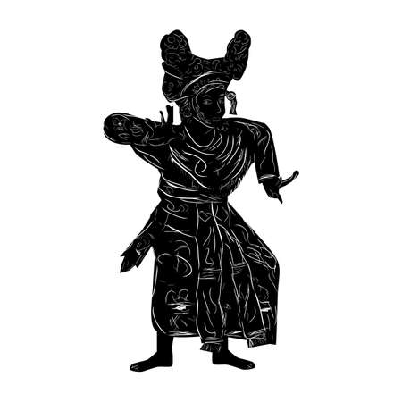 Vector Hand Draw Sketch and Silhouette of Young Girl Traditional Bali Indonesia Reklamní fotografie