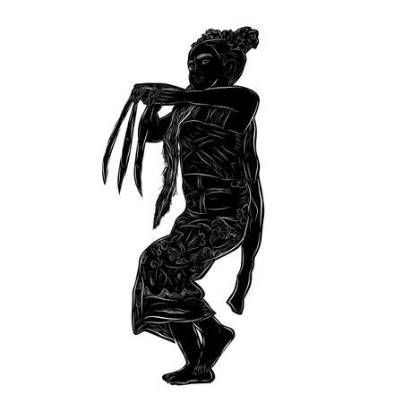 Vector Silhouette and Hand Draw Sketch, Young Girl Traditional Bali Indonesia Traditional Dancer, isolated on white