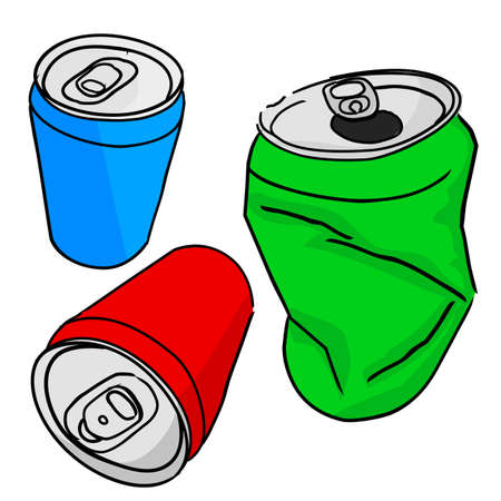 Vector, Hand Draw Sketch Three perspective of of Blank Empty Red Green and Blue Soft drink can, in Good and Broken condition, isolated on white Zdjęcie Seryjne