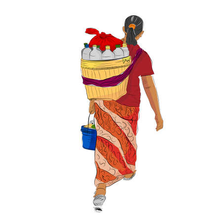 Vector colorful Hand Draw Sketch of walking Jamu Seller Woman, Indonesia Traditional Herbal or organic Drink, view from Back, isolated on white