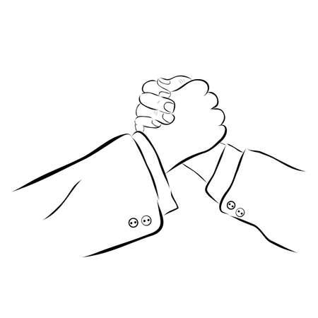 Vector Hand Draw Sketch, man and woman Handshaking Banco de Imagens